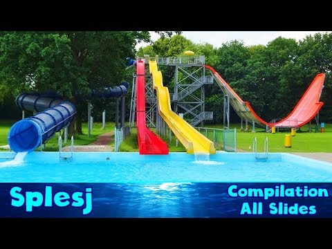 ALL WATER SLIDES at Water park Splesj, Hoeven [Compilation]