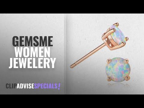 10 Best Selling GEMSME Women Jewelery [2018 ]: GEMSME 18K Rose Gold Plated Opal Stud Earrings 6MM