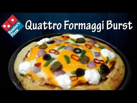 Make QUATTRO FORMAGGI Cheese Burst Pizza like Domino's   Cheesy crust  4 cheese pizza yummylicious