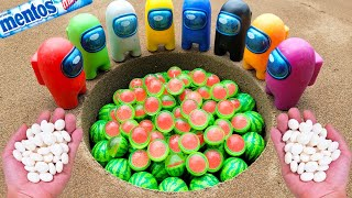 Watermelon vs Coca Cola Light, Fanta, Pepsi, Sprite, Mirinda, Soda and Mentos Underground   Among Us