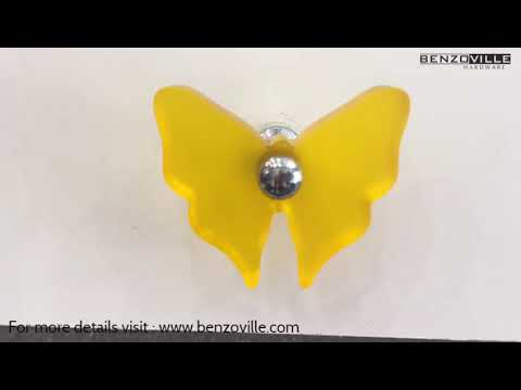 Benzoville Yellow Butterfly Cabinet Knob From Siro Austria