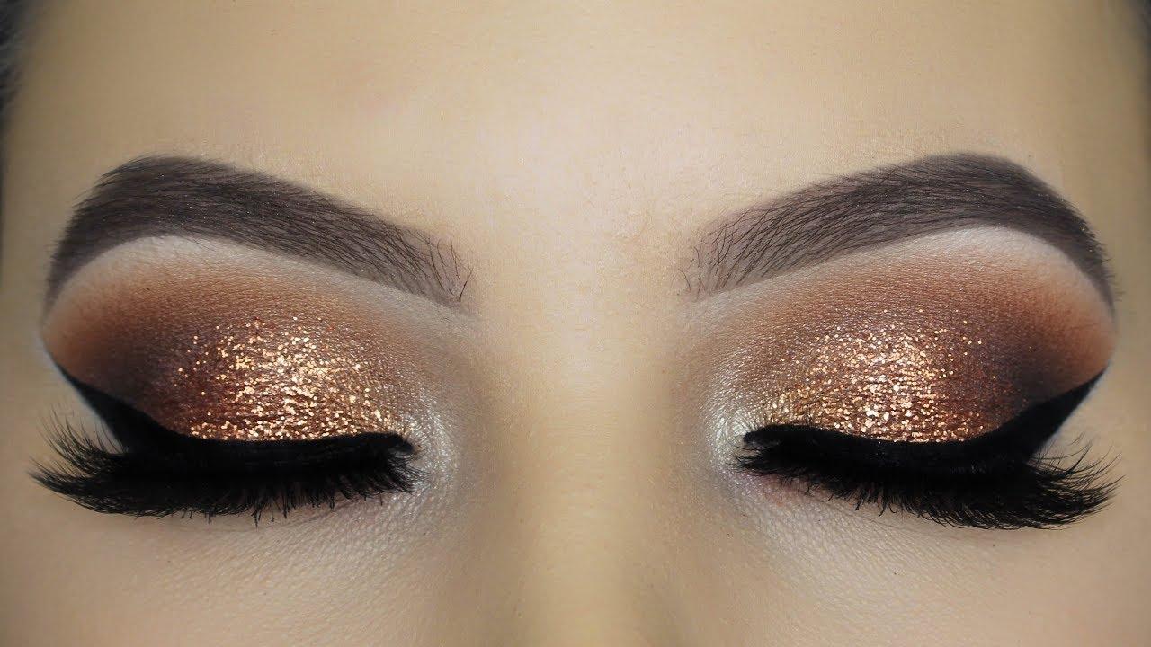 Classic Golden Glitter Eye Makeup Tutorial Youtube