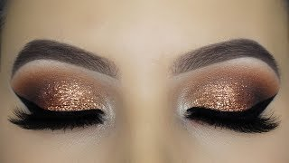 Classic Golden Glitter Eye Makeup Tutorial!