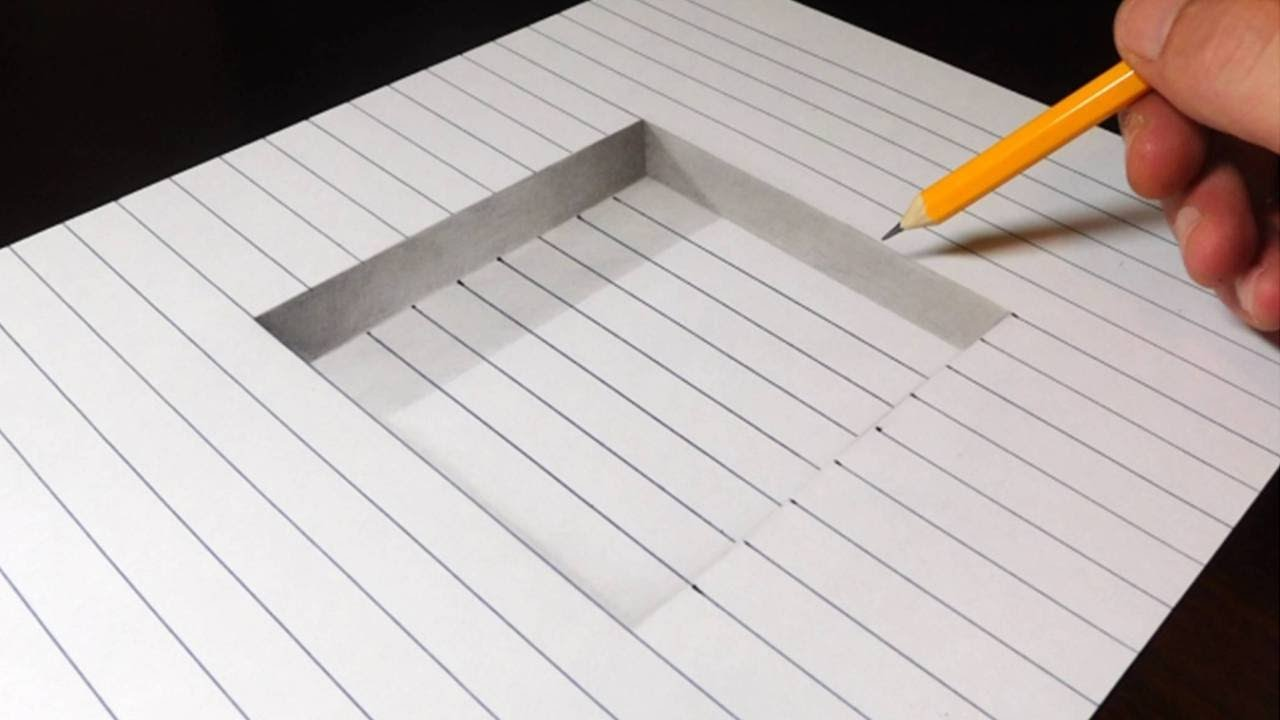 Easy 3d Line Drawings : How to draw a step in line paper easy d trick art youtube