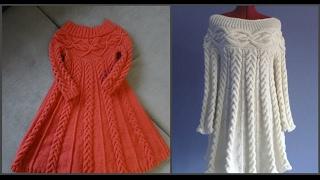 Вязаное платье спицами, в стиле