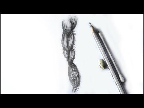 Уроки рисования. Как нарисовать КОСИЧКУ.  Простой способ рисования волос