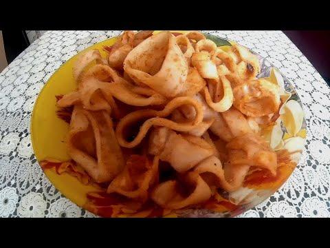 Вяленые кальмары с перцем, вкусная закуска к пиву .