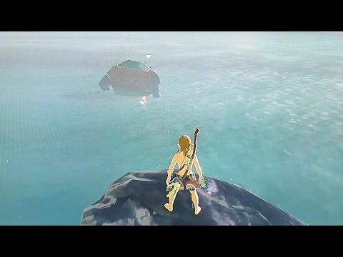 Hinox buggers off into the ocean - Zelda: Breath of the Wild