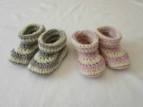 How to crochet children's cuffed booties / shoes / slippers