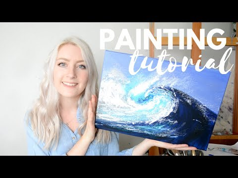 PAINTING TUTORIAL Acrylic Ocean Wave | Katie Jobling Art