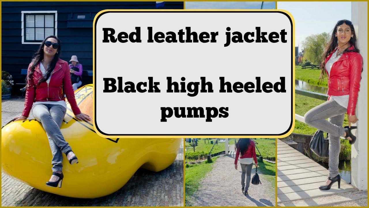 3777d99e2cf Crossdresser - red leather jacket and black high heels pumps ...