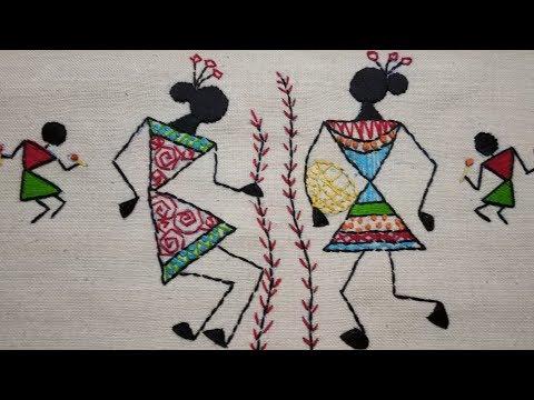 230-Warli embroidery#Tribal art of Maharashtra (Hindi/Urdu)
