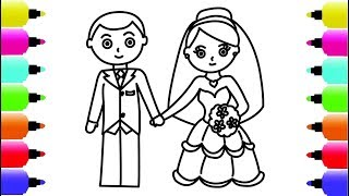 Colouring Book Bride and Groom with Yellow Hair and Pink Flower - How to Draw Dump Truck
