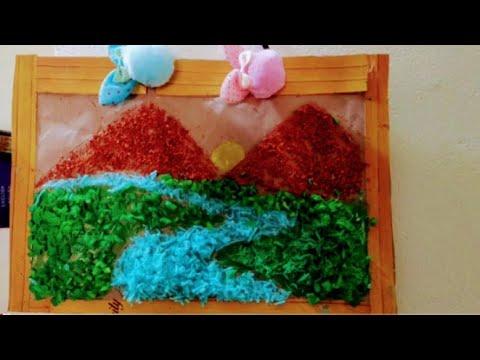 Easy Landscape scenery for kids using woollen