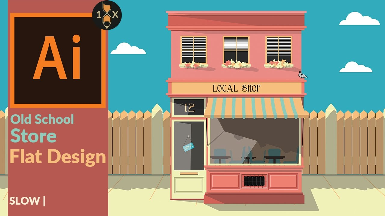How to Build a flat Old School Store in Illustrator - YouTube