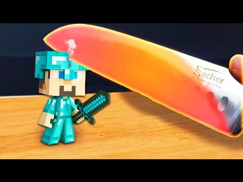 EXPERIMENT Glowing 1000 Degree Knife Vs. Minecraft Steve! (Kids Toys)