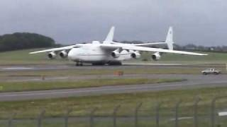 ANTONOV 225 TAXI AND TAKEOFF PRESTWICK AIRPORT