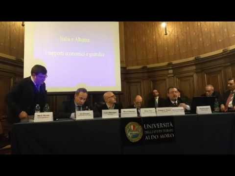 """Aldo Berlinguer al convegno """"Albania e Kosovo opportunità per Imprese, Lavoro e Sviluppo"""" a Bari"""
