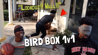 BIRD BOX BASKETBALL 1v1!! *COMPLETELY BLIND-FOLDED*