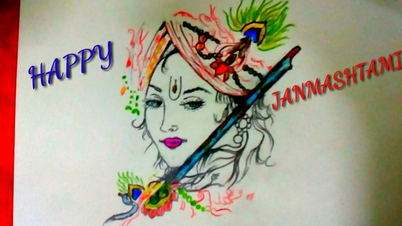 Special Drawing For Happy Janmashtami Lord Krishna With Flute Youtube