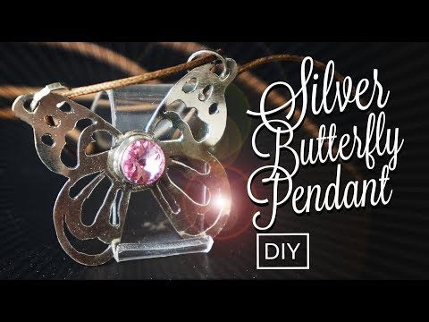 How to make Silver BUTTERFLY with Pink Zircon  Pendant