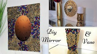 Diy Fiery colored Wall Mirror and Vase Decor| Simple and Inexpensive Abstract Wall Mirror Decor!