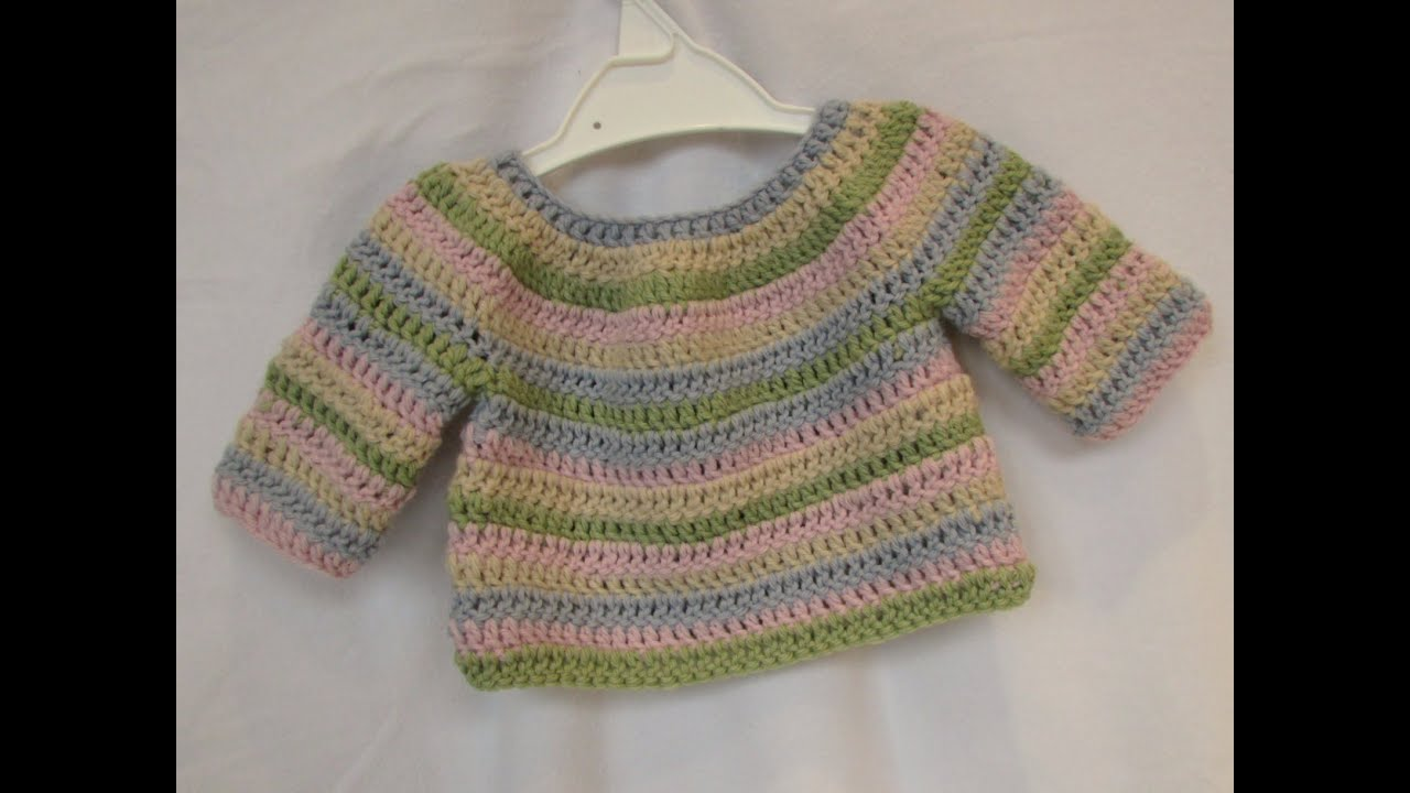 2a418f8b8950 How to crochet a simple striped baby   child s sweater tutorial ...