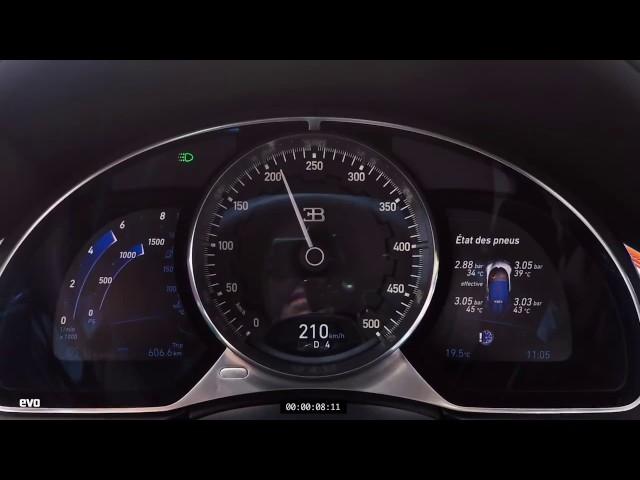 Bugatti Chiron разгоняется с 0 до 351 кмч. За 21 секунду | Bugatti Chiron from 0 to 351 km/h