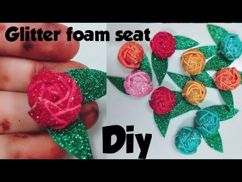 DIY glitter sheet flower/How to make glitter foam sheet flowers/foam sheet craft/sunita creative art