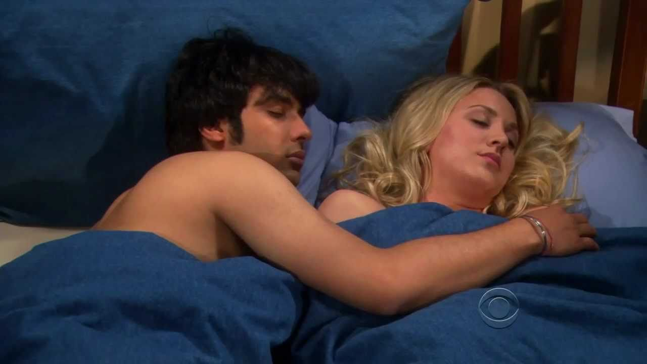 the big bang theory - season finale - rajesh and penny sleep