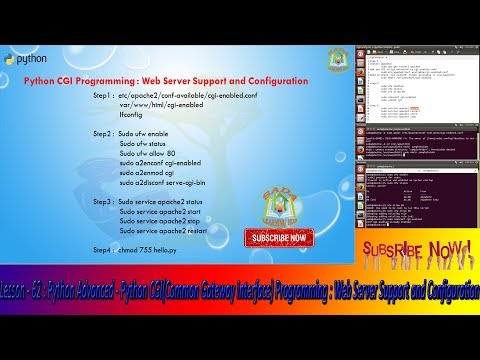 Lesson - 62 : Python Advanced - Python CGI Programming : Web Server Support and Configuration