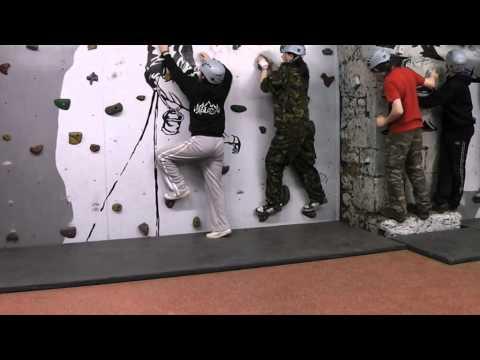 Climbing wall at borwick hall