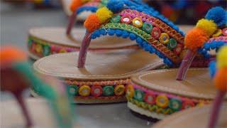 Shot of Rajasthani footwear / sandal in workshop