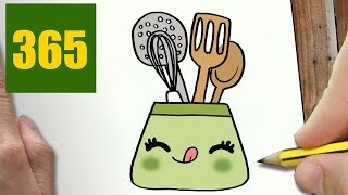 HOW TO DRAW A USEFUL KITCHEN CUTE, Easy step by step drawing lessons for kids