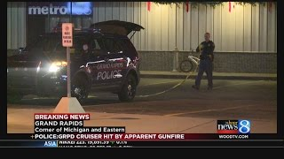 GRPD cruiser hit by bullet while officers in Grand Coney