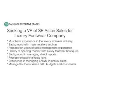 Bangkok Recruiting Firm Seeking VP of Luxury Footwear Sales