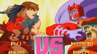 X-MEN VS STREET FIGHTER (ARCADE CPS2) 1CC - RYU and AKUMA TEAM PLAYTHROUGH (FULL GAMEPLAY)