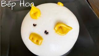 Bánh bao heo nhân kem chuối_Nhồi bột bánh bằng tay,bánh nở xốp mịn mặt/Piggy dumplings with cream