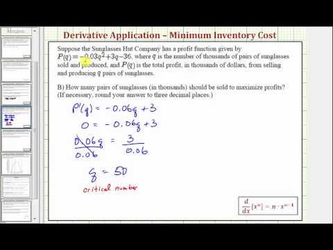 Ex: Derivative Application - Maximize Profit