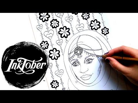 INKTOBER Drawing a Coloring Page || Eid Muslim Girl with Hijab #inktober2016