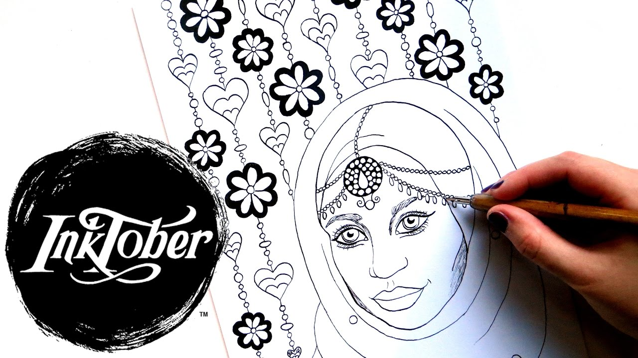 INKTOBER Drawing a Coloring Page || Eid Muslim Girl with Hijab ...