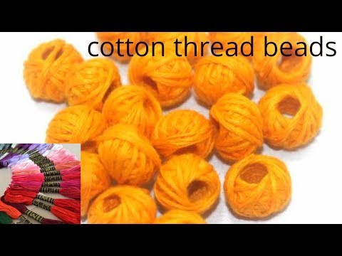 How to make Cotton Thread Beads for Necklace | cotton thread beads | Simple and easy at home