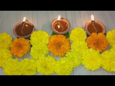 Diwali Flower Depam Thoranam Decoration ideas l Karthikamasam Diya Flower Thoranam Decoration l Dipa