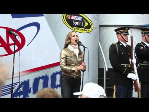 Melora Hardin Sings Anthem  NASCAR Dover DE Oct. 2 2011