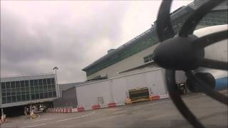 flybe Bombardier Dash 8 Q400 engine start and take off from LGW
