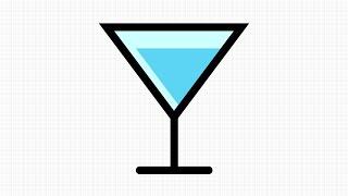 How to draw Martini Glass Vector in App GRAPHIC for IPad - วิธีวาดเวกเตอร์รูปแก้วมาร์ตินี่