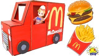 リカちゃん  マクドナルドのお店屋さんごっこ♪ダンボールとグルーガンでフードトラックをDIY♪絵の具で色を塗ろう♪Mcdonald's おもちゃ たまごMammy
