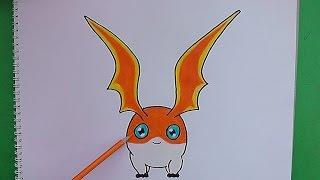 Dibujando y pintando a Patamon (Digimon) - Drawing and painting to Patamon