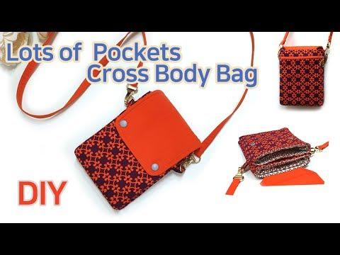 포켓이 여러개인 크로스백 만들기/휴대폰 크로스백 DIY/미니 크로스백/Lots of  Pockets Cross Body Bag/Viele Taschen Umhängetasche