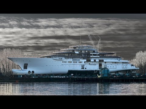 4K | FLOAT OUT and IN - New Mega Yacht Project LIGHTNING 130m+ - Lürssen Shipyard